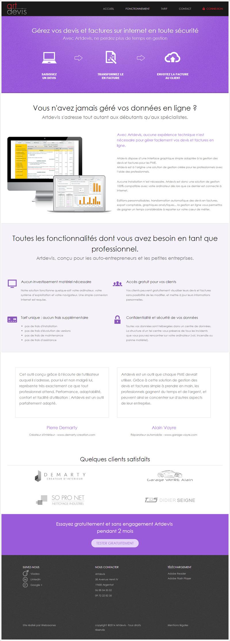 Page Accueil du site artdevis.fr