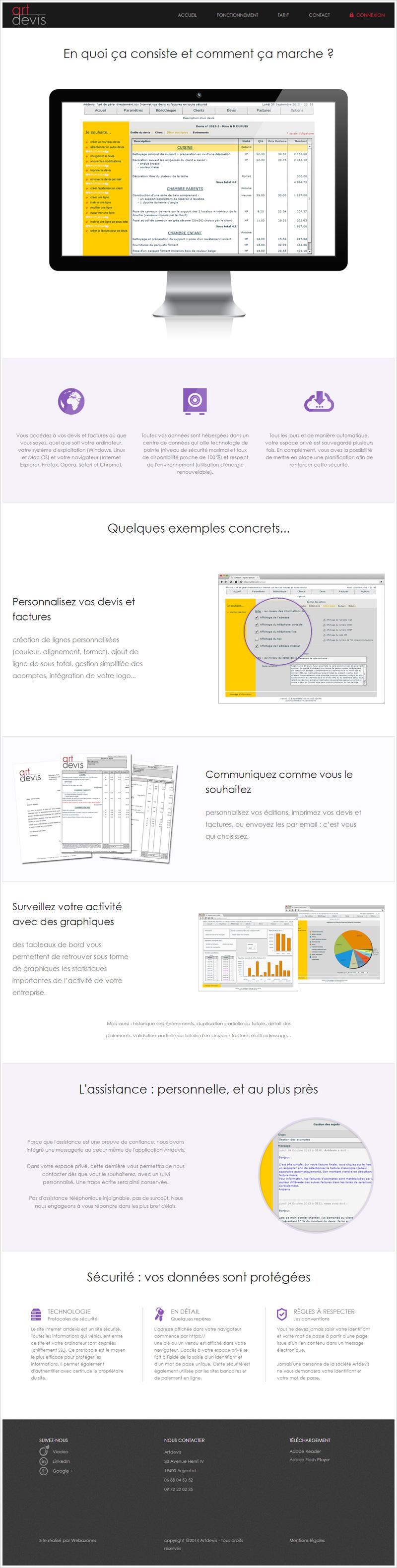 Page Fonctionnement du site artdevis.fr