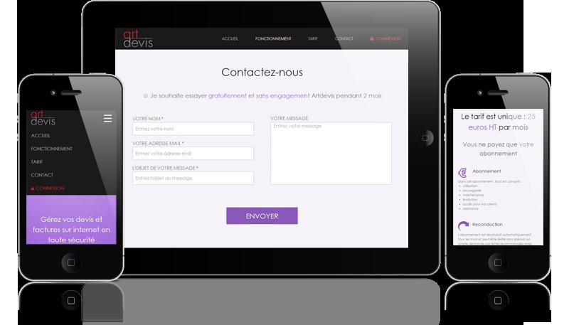 Ecrans sur mobiles du site artdevis.fr