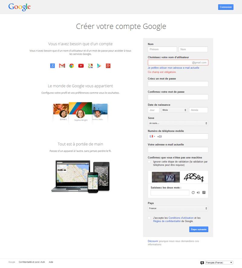 Page de création d'un compte Google