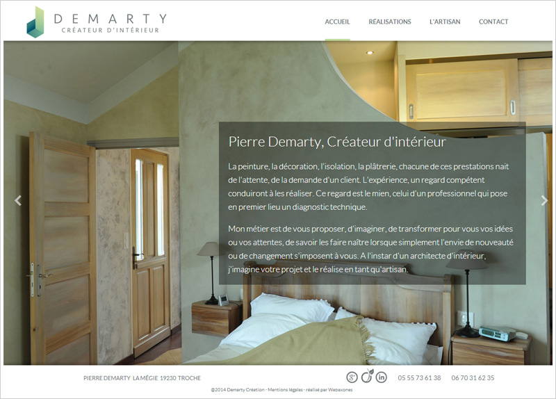 Page Accueil du site demarty-creation.com