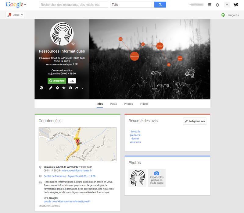 Page Google+ du site ressourcesinformatiques.fr