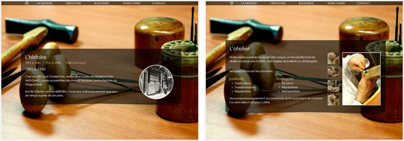 Pages Histoire et Atelier du site pau-antignac.com