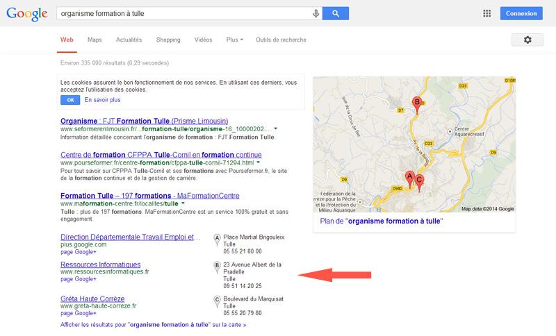 Exemple de résultats de recherche avec page Google+