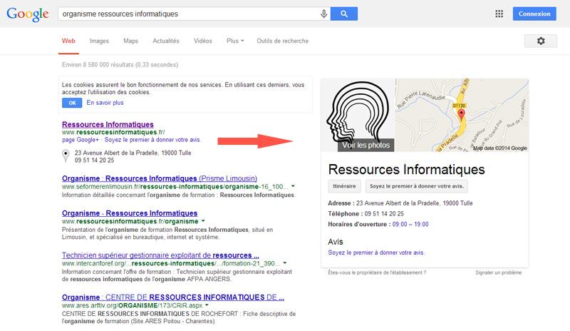Exemple d'encart Google+ Local dans les résultats de recherche