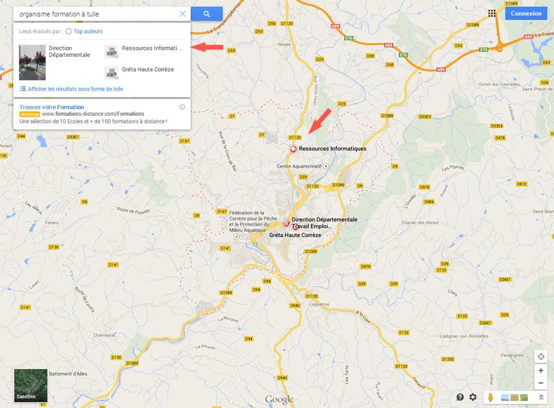 Recherche Google maps dernière version