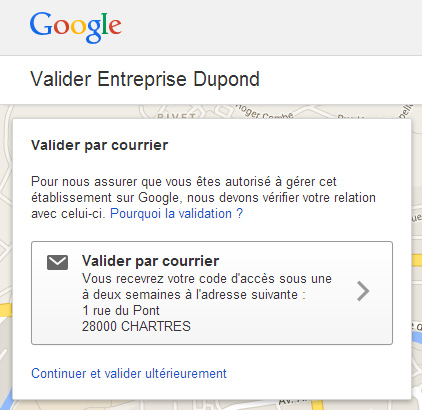 Validation par courrier de Google+