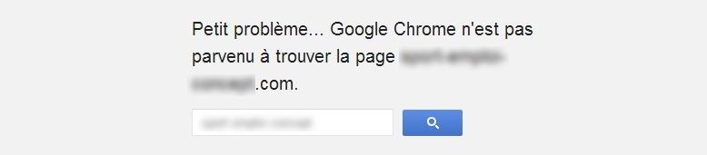 Ecran de Google Chrome indiquant qu'un petit problème est apparu car le navigateur n'est pas arrivé à trouver la page recherchée
