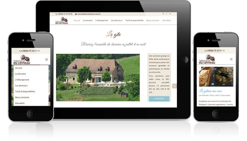 version mobile du site du Domaine du Cerneau