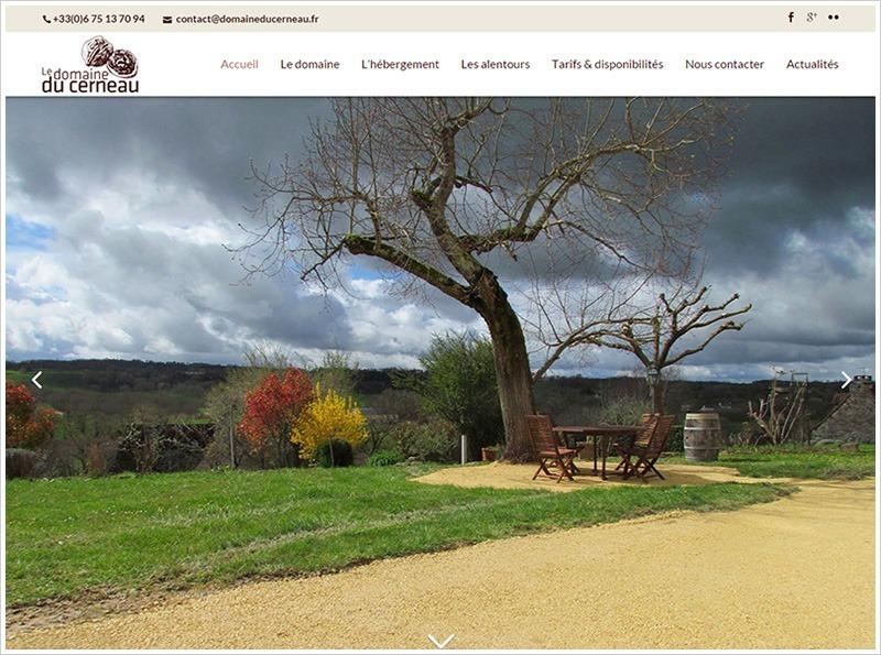 Diaporama de la page d'accueil du site du Domaine du Cerneau