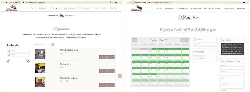 module de réservation en ligne du site du Domaine du Cerneau