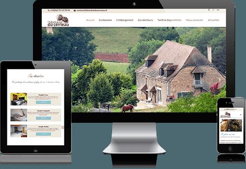 Ecrans du site du Domaine du Cerneau