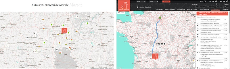 cartes dynamiques site Château de Marsac