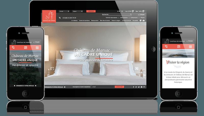 site internet du Château de Marsac sur mobiles