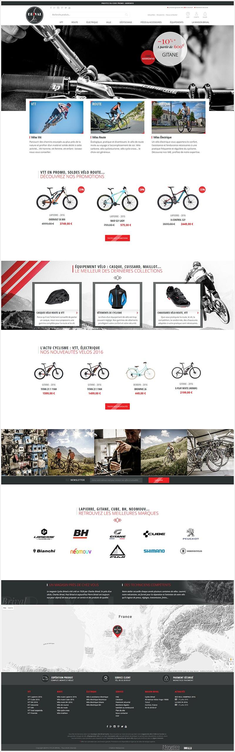 Page d'accueil du site VeloBrival