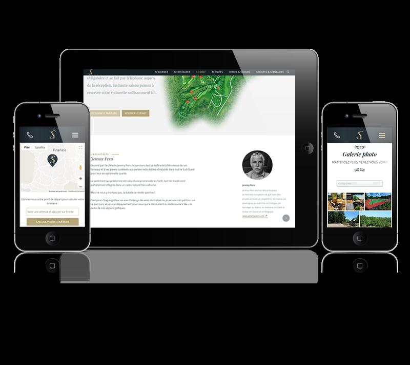 Réalisation Webaxones - Souillac & Country Club : versions tablette et smartphone