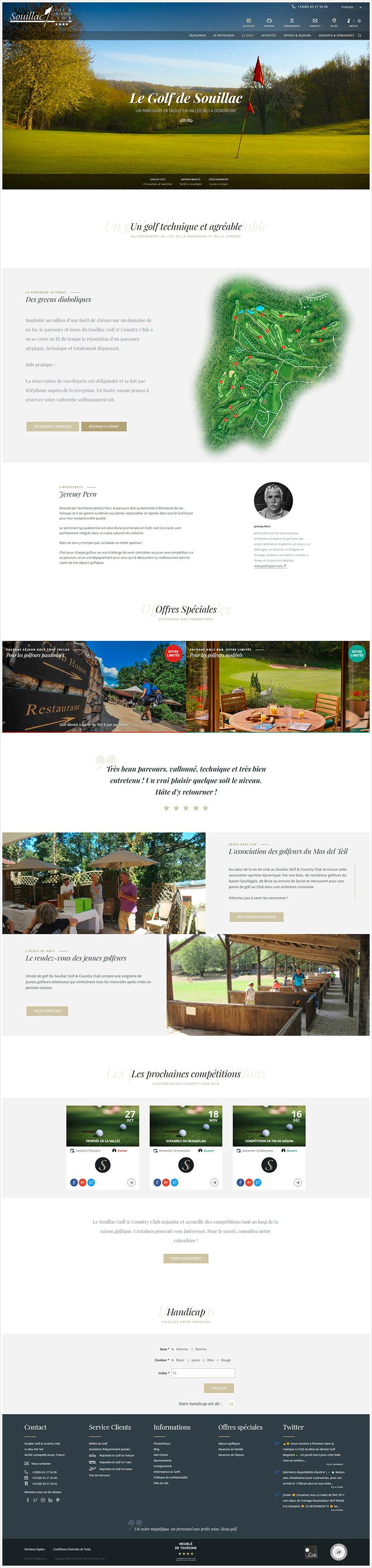 Réalisation Webaxones - Souillac & Country Club : page du golf